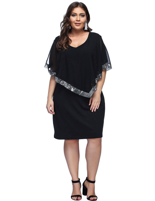 Dramatic Plus Sequin Trim Chiffon Shawl Midi Dress Natural Outfit