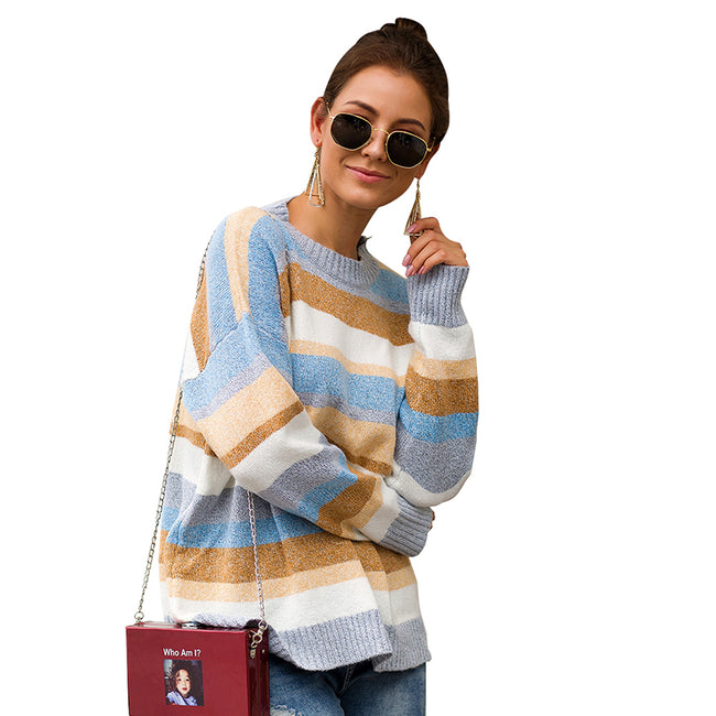 WomenTailored Long Sleeve Stripe Print Knit Sweater