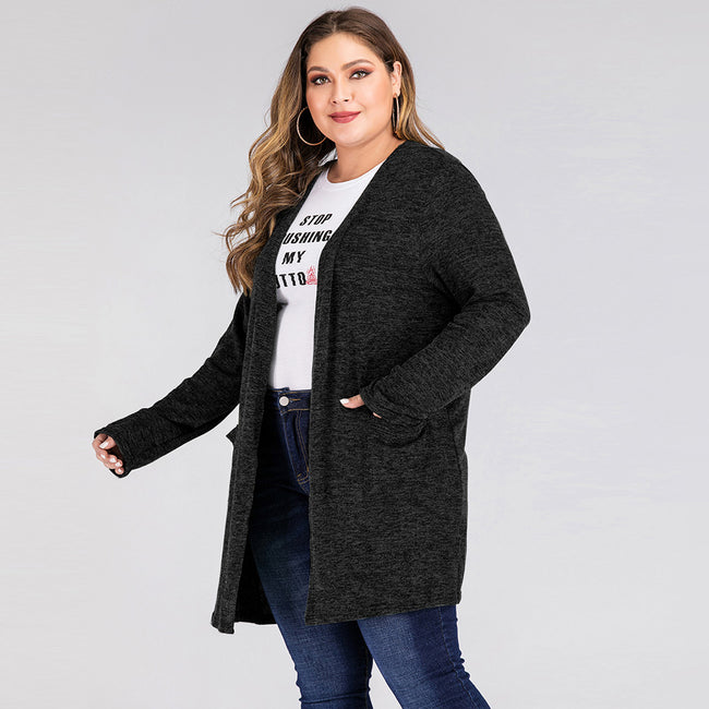 Plus Size Solid Color Pocket Long Sleeve Coat