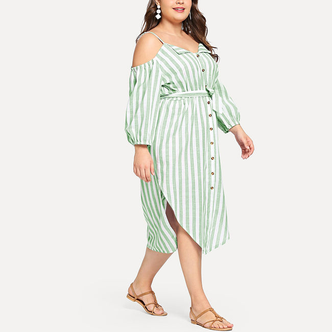 Striped V-neck Single-breasted Dress
