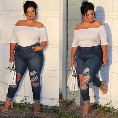 Hot Selling Brightly Dark Blue Plus Size Ripped Jeans