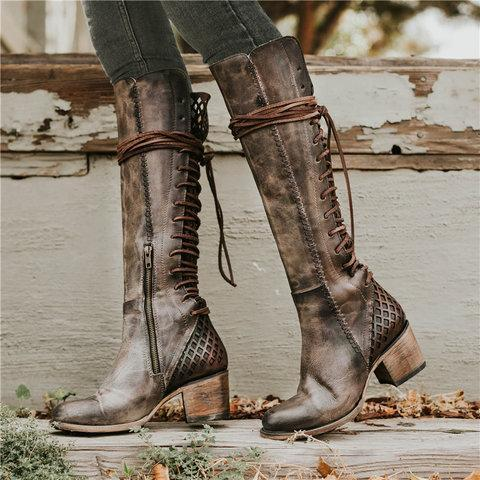 Vintage Lace-up Hollow-Out Chunky Heel Boots