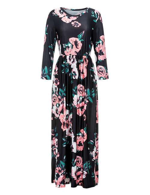 Faddish Large Sleek Flared Floral Long Hemline Dress Ultimate Comfort