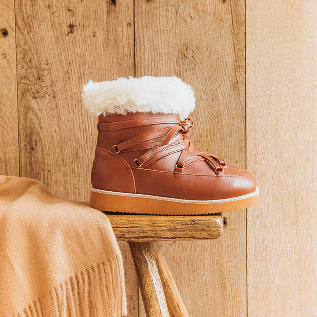 Simple Warm Lace-Up Round Toe Fur Snow Boots