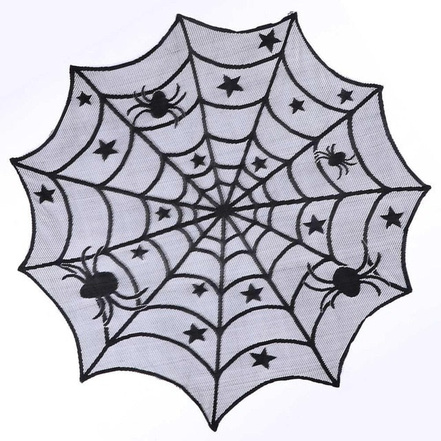 Black Lace Spiderweb Table Cloth  Horror Halloween Party Decoration