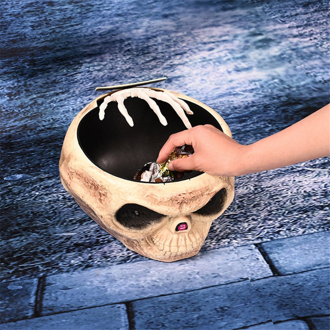 Halloween Electric Toy Candy Bowl with Jump Skull Hand Decoration
