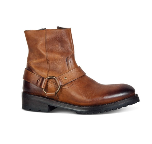 Wedge Leather Denim Banquet Harness Men Chelsea Boots