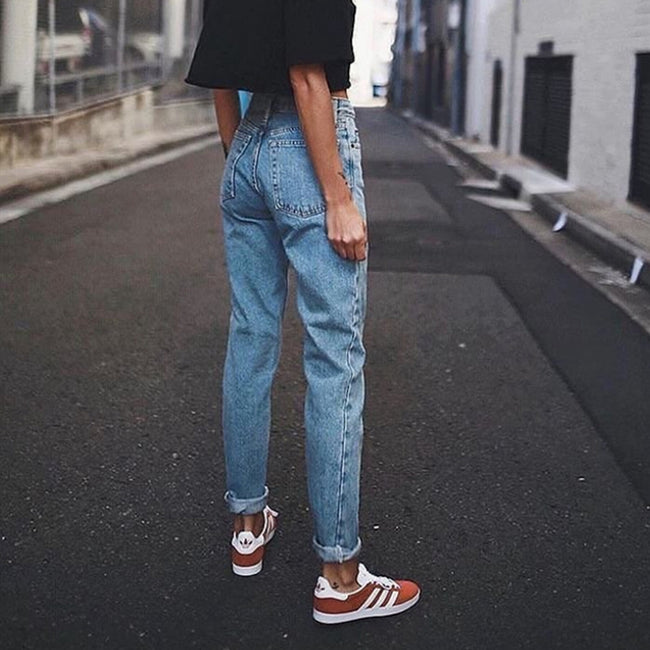 Vintage ladies  casual pencil trousers streetwear denim pants