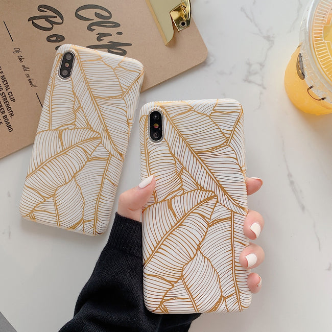 Gold Plating Banana leaf Case for iphone 11 11Pro Max XS Max X XR 6 6S 7 Plus