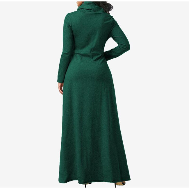 Elegant Women Maxi Dress Double Pockets Long Sleeves