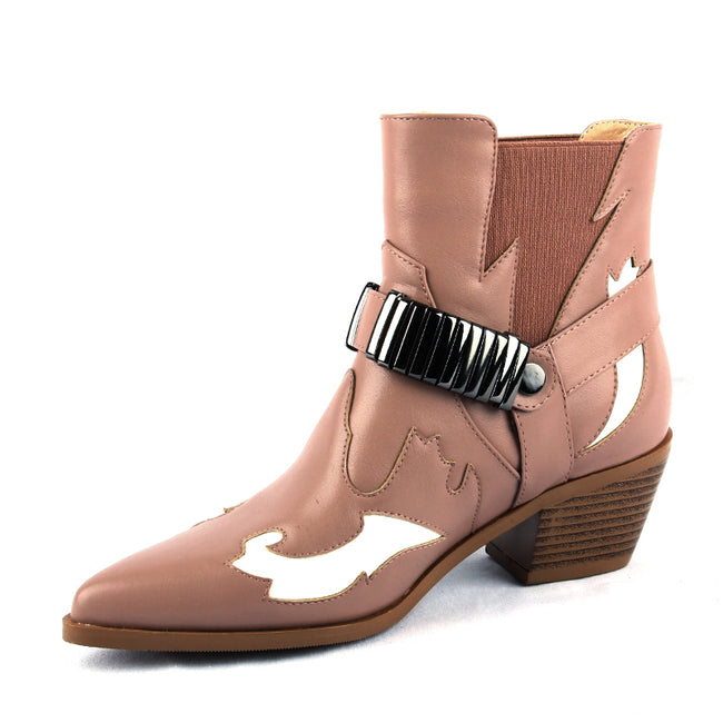 Pointed Toe Western Pink PU Leather Women Ankle  Boots