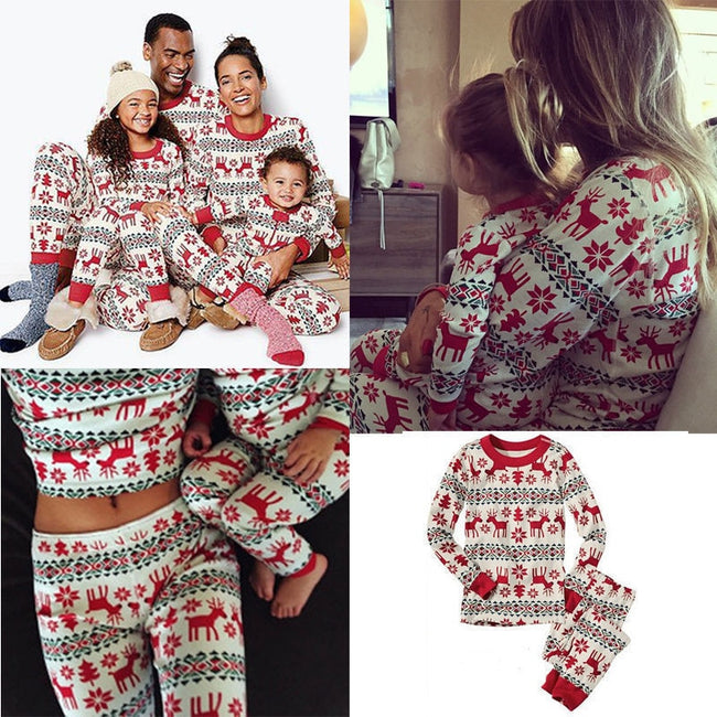 2 PCS Christmas Family  Print Home Pajamas Suit