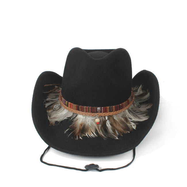 Wool Hollow Western Cowboy Hat Roll-up Brim Jazz Cap