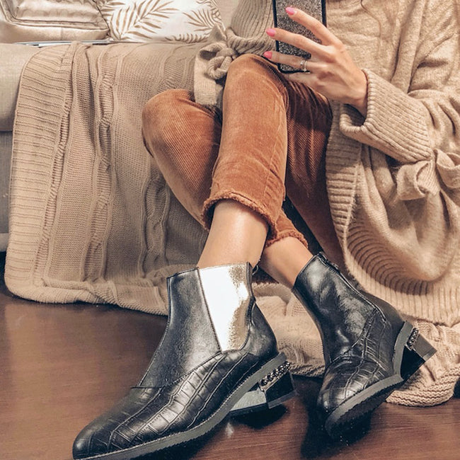 Fur Winter Warm Ankle Chelsea Boots Woman  Mixed Color  Short Boots