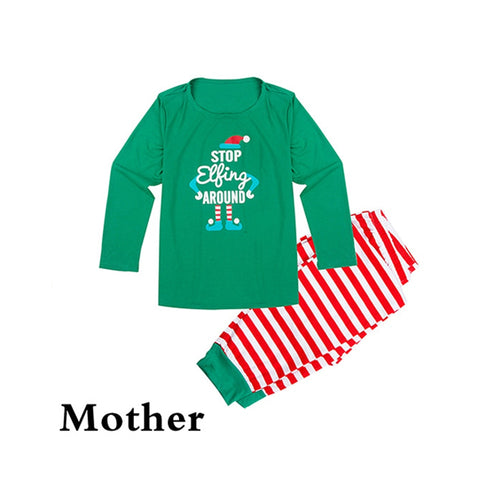 Matching Family Outfits Green Striped Snowman Christmas Pajamas