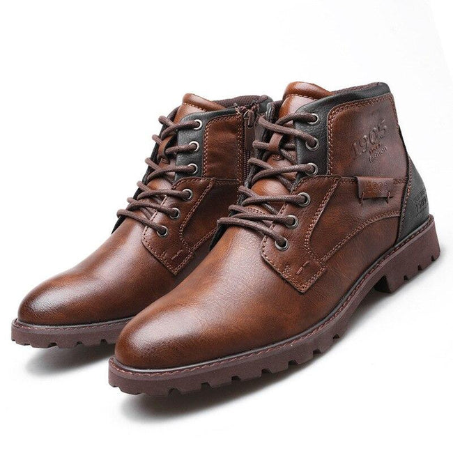 Retro Style Black Brown Martin Lace-Up Leather Men's Snow Boots