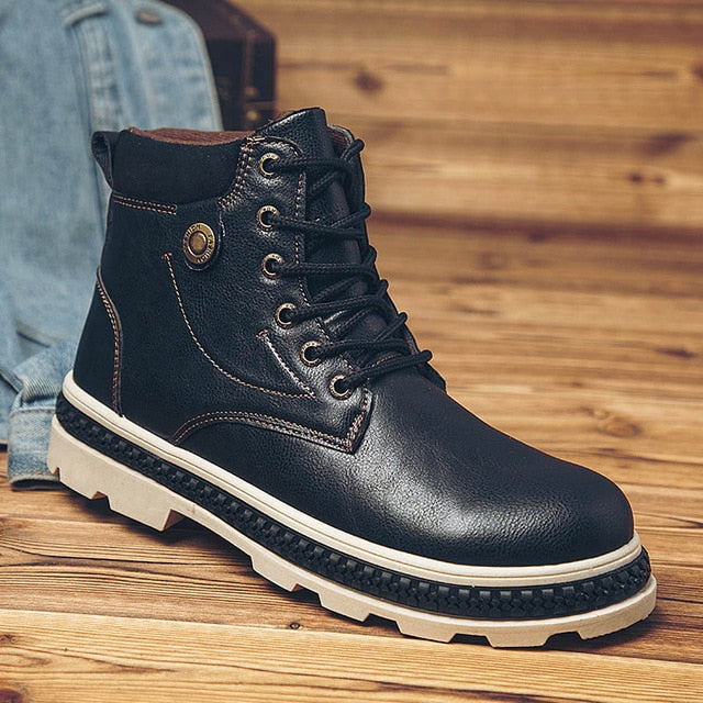 Autumn Winter New Outdoor Leather Non-slip Waterproof Martin Boots