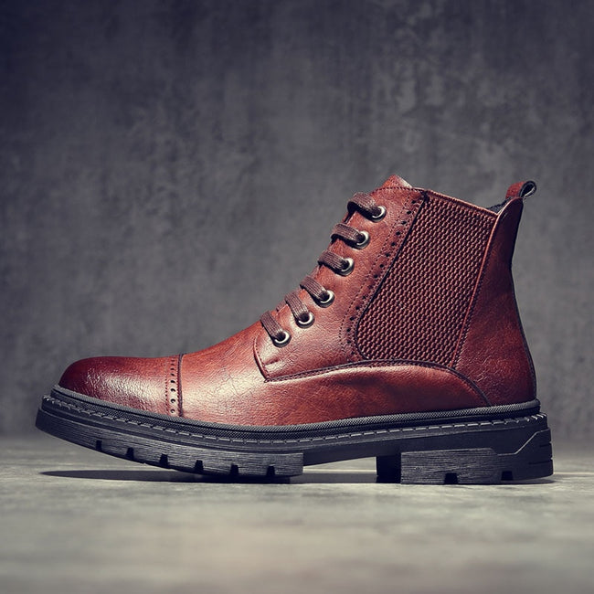 British Split Leather Men's Formal Ankle Boots