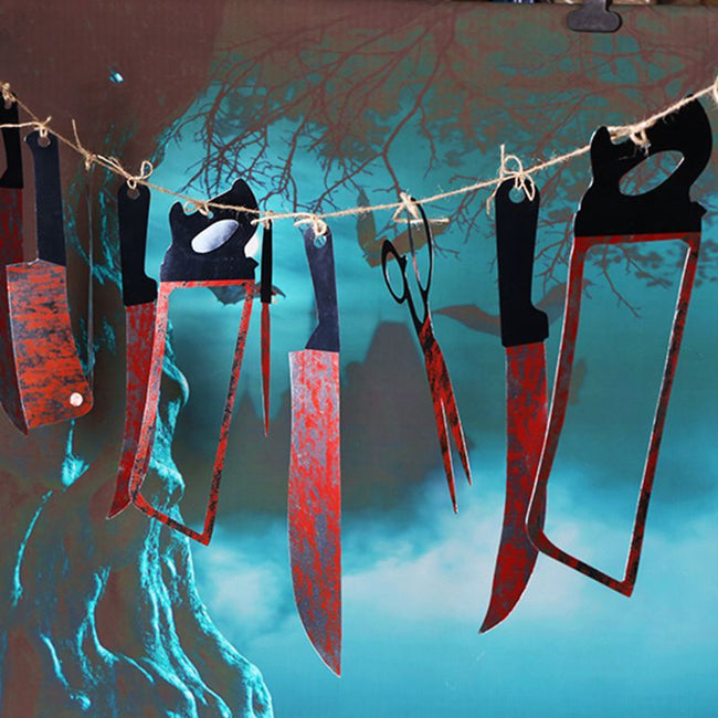 12pcs/lot  Plastic Blood Knife Tools  Horror Banner Halloween Decoration