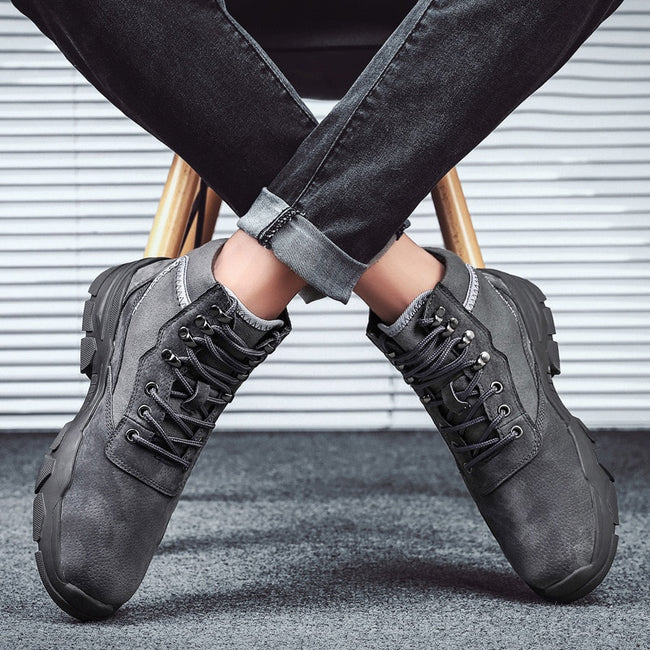 Fashion Retro Lace-up Work Boots