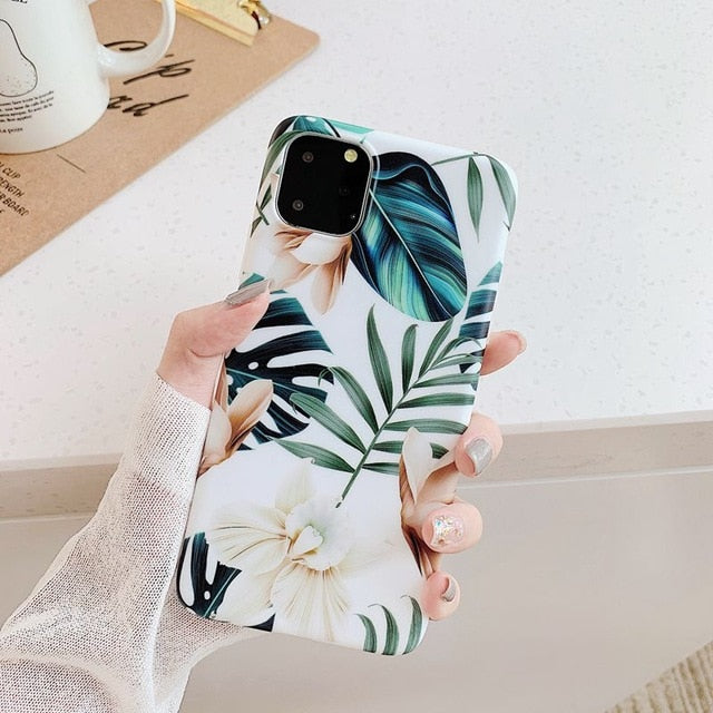 Soft Freshness Red Flower Leaf Phone Case