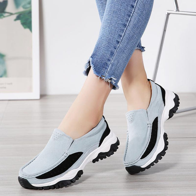 Walking Flat Platform Suede Leather Women's Shoes