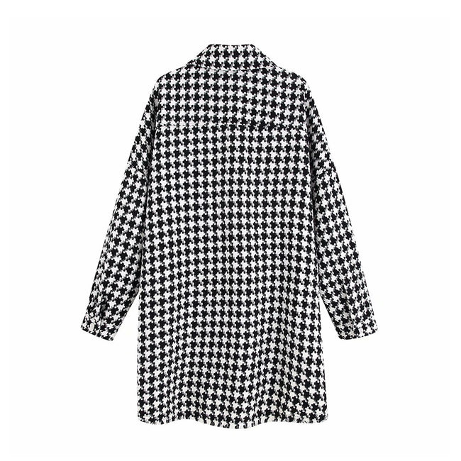 Vintage Stylish Oversized Houndstooth Jacket Coat