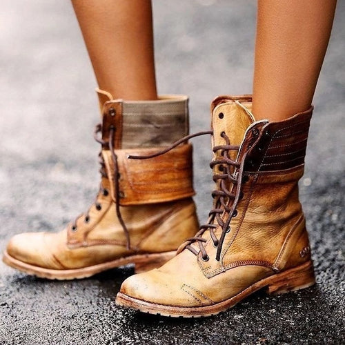 Women Low Heels Mid-Calf Lace-Up Matin Boots