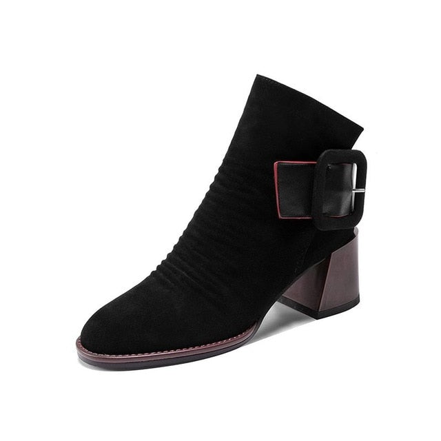 Autumn Winter  Square  Heels buckle Lady Leather Boots