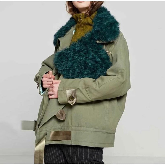 Winter Casual Thick Warm Faux Fur Collar Pockets Parkas