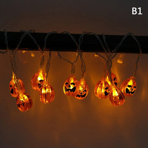 10 LED Hanging Halloween Decor Pumpkins/Ghost/Skull LED String Lights