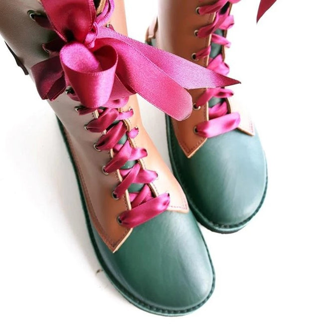 Flats Lace-up PU Leather Round Toe Mid-calf Boots