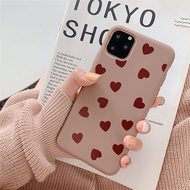 Love Heart Pattern Phone Case for iphone 11 11Pro Max XS Max  7 8 6 6S Plus