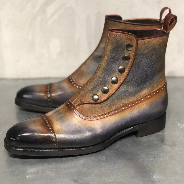 Vintage Leather Low heels Men's Ankle Boots