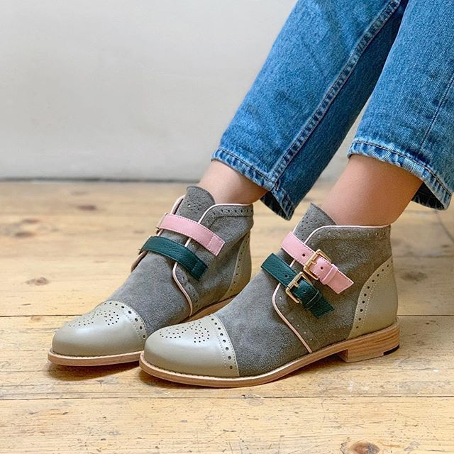 Women Low Heels Patchwork Buckle Ankle Boots