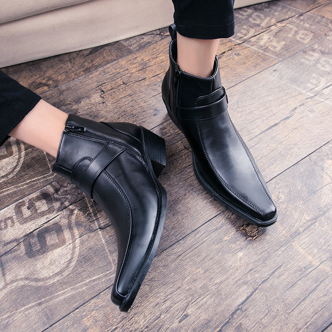 Vintage Platform Pointed Toe Leather Men's Chelsea Boots