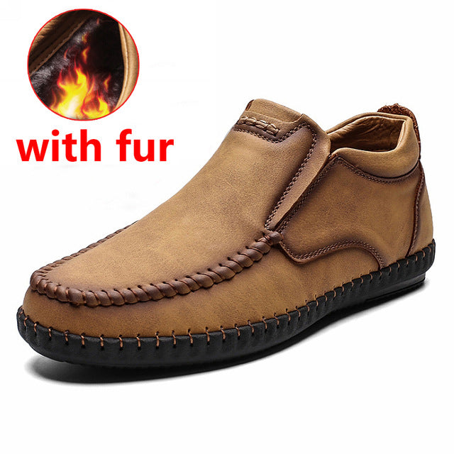 Fashion Casual  Leather Men's Warm Snow Boots