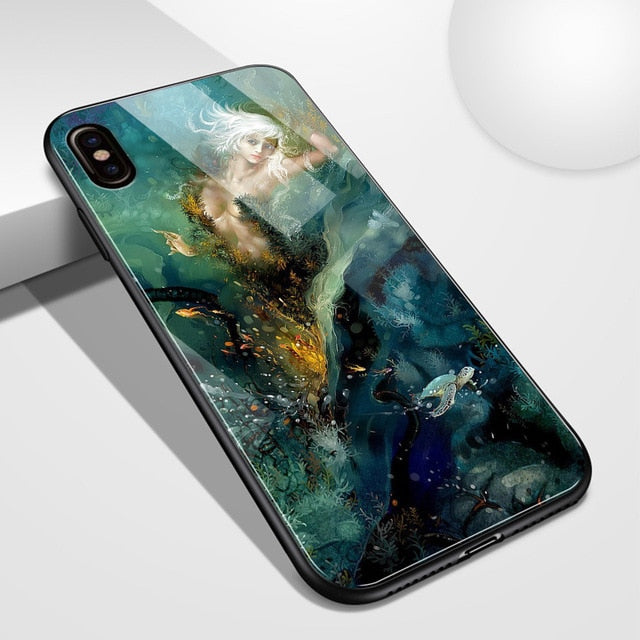 Glass Back Cover Art Girl Design Case For iPhone 11 Pro Max