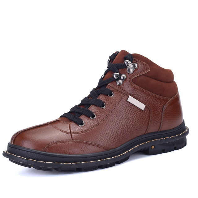 Winter Walking Warm Leather Men's Ankle Boots