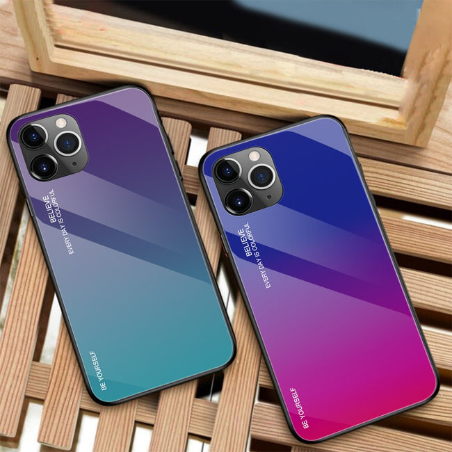 Gradient Painted Case Tempered Glass Cover For iPhone 11 Pro