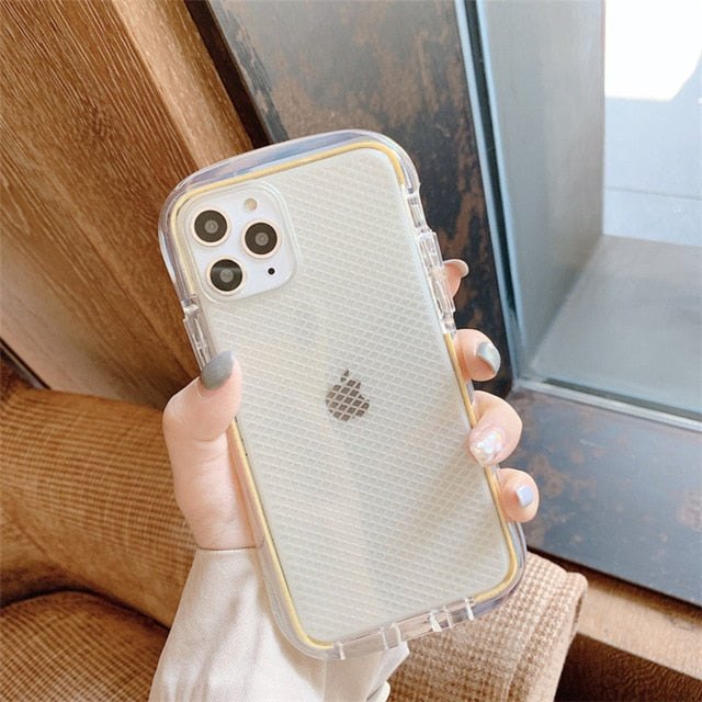 Clear Mesh Grid Armor Phone Case for iphone 11 11Pro Max XS Max