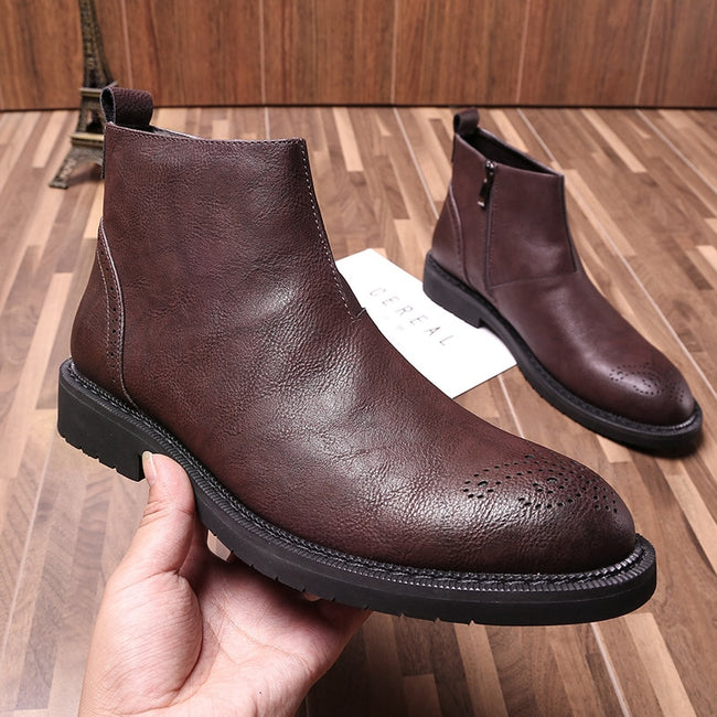 Early Winter Zip Casual Leather Men's Ankle Boots