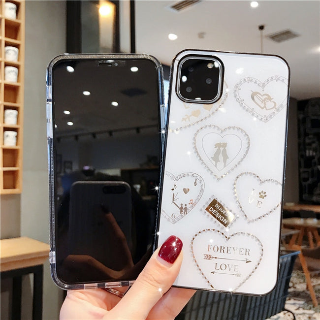 For Apple iphone 11 Case Luxury Diamond Glitter Love protective back cover