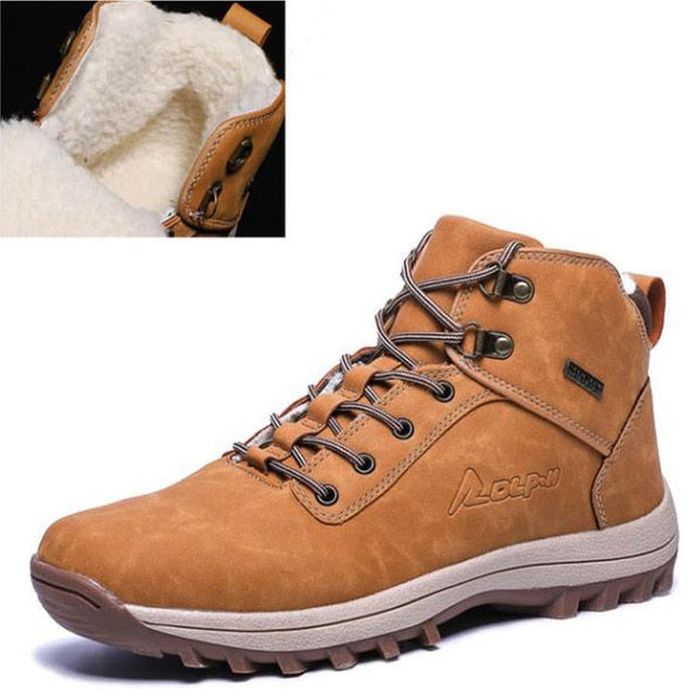 Fashion Leather Snow Men's Ankle Boots