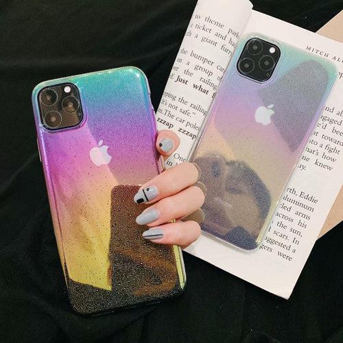 3D Water Drops Laser Rainbow Ultra Thin Hard PC Case For iphone 11 Pro Max 6 6S 7 8 Plus
