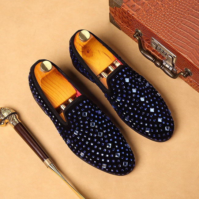 Luxury Italian Rhinestones Men's Dress Shoes