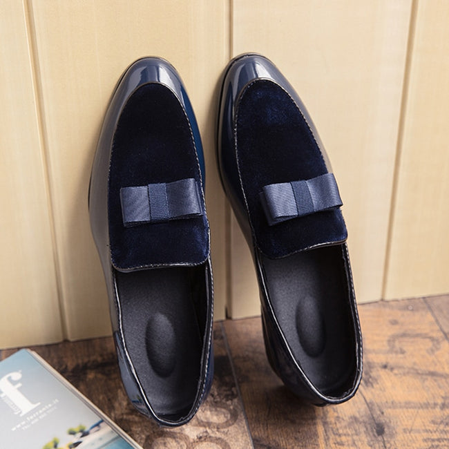 Bow Tie Leather Pointed Toe Men's Dress Shoes