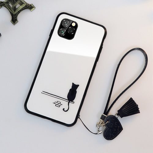 C Simple Cute Cat Glass Hard Cover For iPhone 11 Pro xr xs Max 6 6S 7 8 Plus