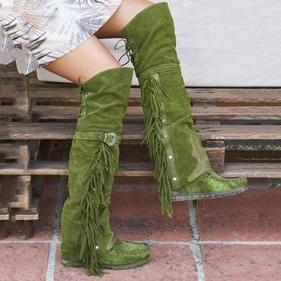 Ethnic Women Tassel Bohemian Knee High Booties