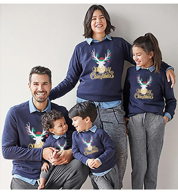 Fashion deer Christmas family sweatshirts matching clothes